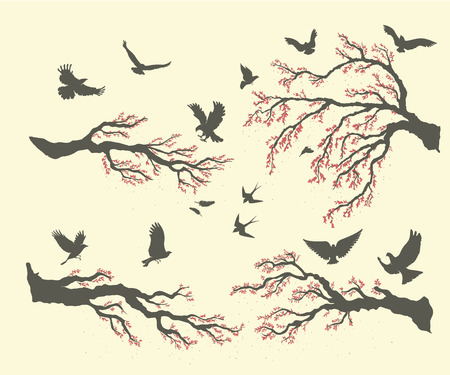 warble: set of branches and birds