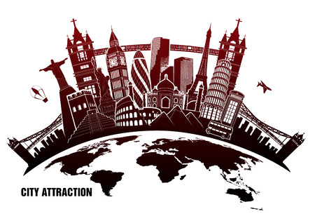 leaning tower of pisa: Landmarks from around world in grunge style Illustration