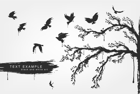 warble: Cool figures of flying birds, trees in grunge style colors