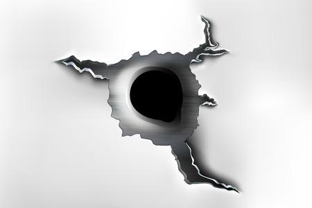 Agujero irregular en metal de las balas. Ilustración de vector