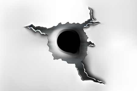Ragged hole in metal from bullets. Illustration