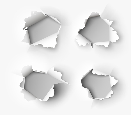 Holes torn in paper on white Illustration