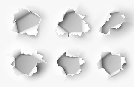 Holes torn in paper on white Stock Illustratie