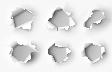 Holes torn in paper on white 矢量图像