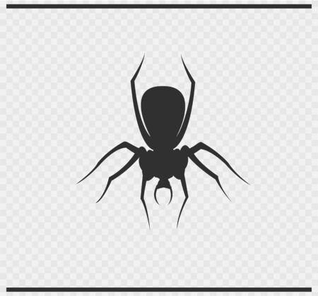 spidery: Spider icon black color on transparent background Illustration