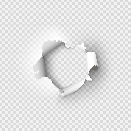 Holes torn in paper on transparent background