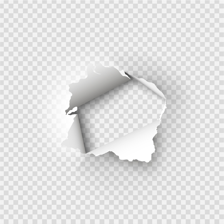 透明な背景に紙の穴