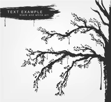 warble: figures trees in grunge style colors