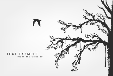 warble: figures of flying birds, trees in grunge style