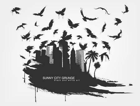 Black spot watercolors Flying birds from city