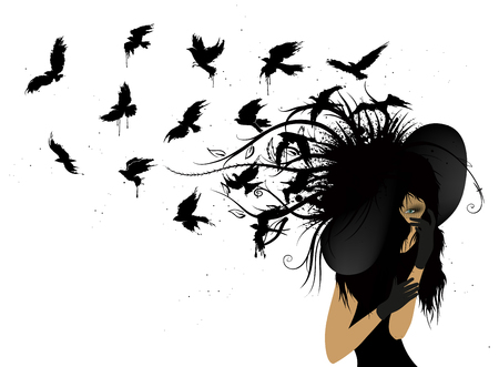 Flying birds from the head of a woman in black
