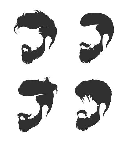 턱수염과 콧수염이있는 망 헤어 스타일 일러스트