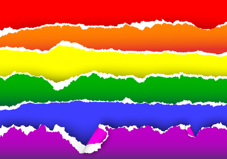 homo: Rainbow flag of LGBT community from torn papers