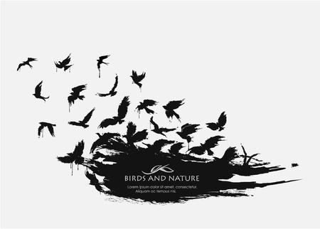 Borstelstroke textuur grunge met vogels vliegen