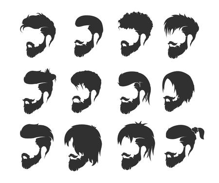 턱수염과 콧수염이있는 망 헤어 스타일 스톡 콘텐츠