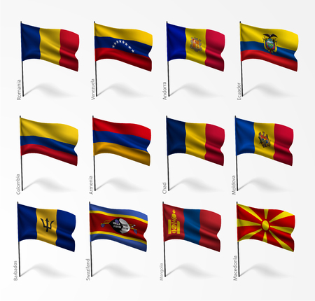 federated: Collection set of flags of world on flagpole Illustration