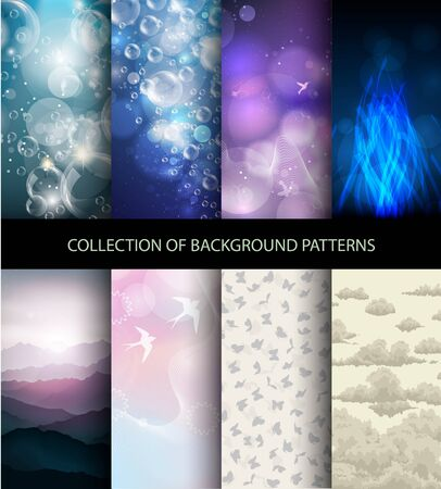 repetition: vector collection set of 8 background patterns Illustration