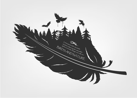 flying birds and forest in feather