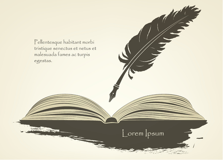 old feather with open book