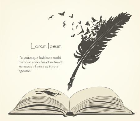 escribiendo plumas viejas con pájaros voladores y libro abierto
