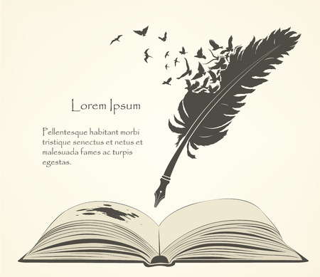 writing old feather with flying birds and open book Stock Illustratie