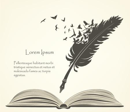 vecchia piuma con uccelli volanti e libro aperto