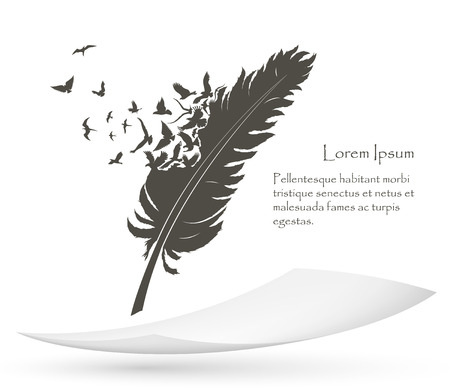 old feather with flying birds and paper Vectores