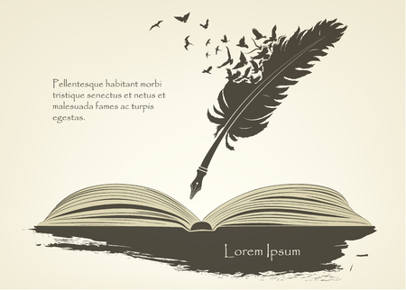 feather with flying birds and open book Stock Illustratie