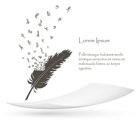 old feather with flying alphabet letters and paper
