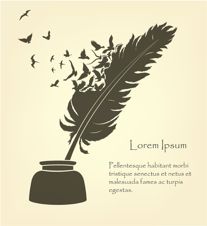 feather with flying birds and ink Illustration