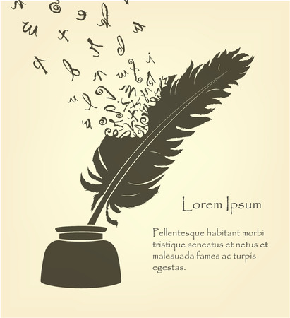 feather with flying letters and ink Ilustrace