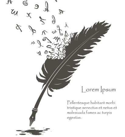 writing old feather with flying letters of alphabet and ink stain