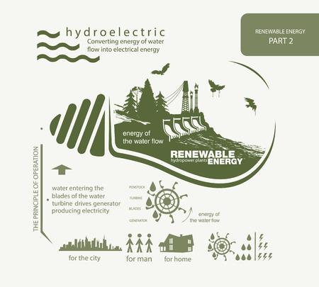 Infographics hernieuwbare hydro-elektrische energie Stock Illustratie