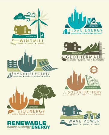 pictogrammen en infographics van hernieuwbare energiebronnen