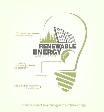 install: Renewable energy of solar energy in bulb. The concept of ecology Illustration