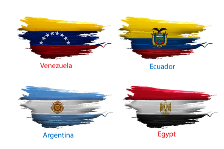 set smear paint of flag on white background Illustration