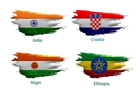 Impostare vernice smear di bandiera su sfondo bianco