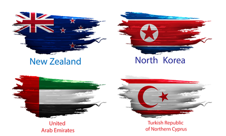 set smear paint of flag country on white background Illustration