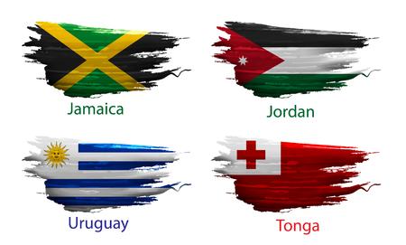 bandera de uruguay: Establecer la pintura de frotis del país de la bandera en el fondo blanco Vectores