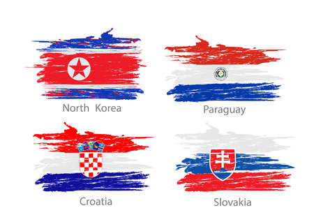 Collection set of flags countries smears and paint stains.