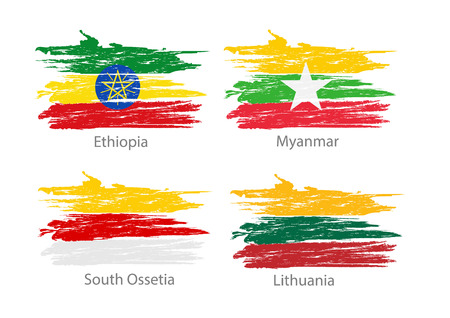 national flag ethiopia: Collection of different flags in washed colored style.