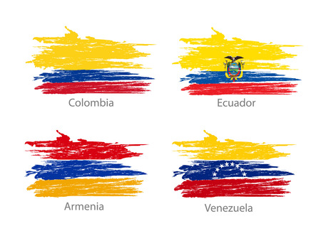 bandera de venezuela: Collection of different flags in washed colored style.