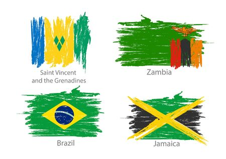 Collection of different flags in washed colored style.
