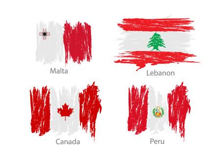 bandera de peru: Colección de diferentes banderas en color lavado estilo. Vectores