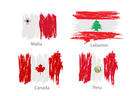 worn paper: Collection of different flags in washed colored style.