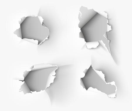 Otwór rozdarty w zgrywanie papieru na białym tle Ilustracje wektorowe