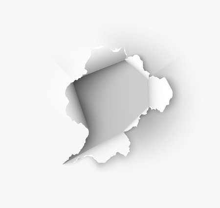Hole torn in ripped paper on white background 免版税图像 - 90454468