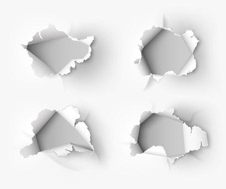 白い背景に引き裂かれた紙に引き裂かれた穴