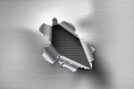 Orificio desgarrado rasgado en acero rasgado sobre fondo de metal