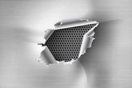 금속 배경에 찢어진 된 철강에서 찢어진 비정형 된 구멍